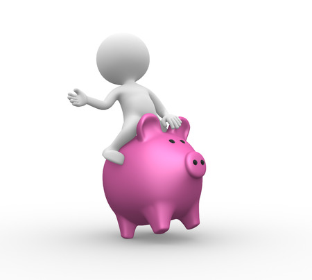 3d people - man, person with a piggy bank. Banker  Stock Photo