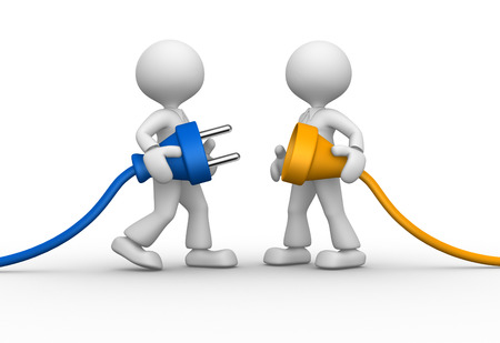 3d people - men, person and electric plug Standard-Bild