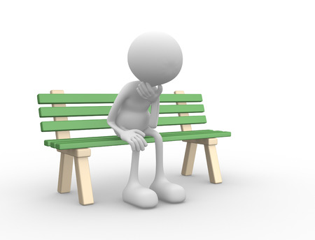 3d people - man, person sitting  on the bench upset