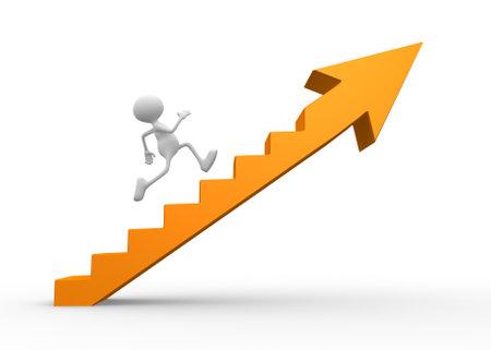 3 d の人々 - 男性、矢印で階段を上る人。 写真素材