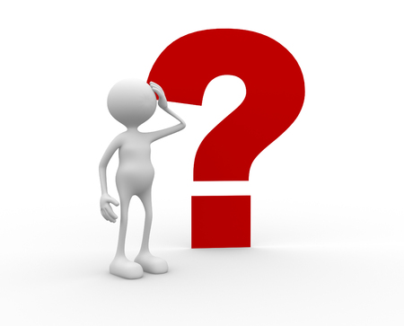 3d mensen - een man, persoon en een vraagteken. Verward Stockfoto