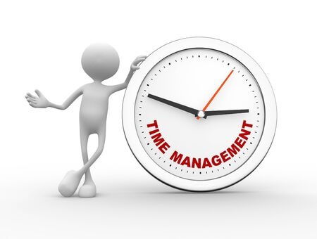 3d people - man, person with a clock and text time to management