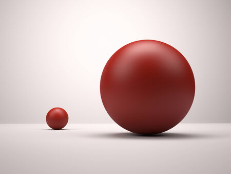 3d red spheres. Big and small