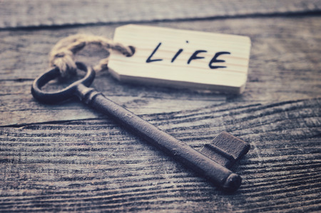 Key and label. Life concept Stok Fotoğraf