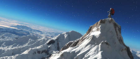 Climber on a snowy peak at sunset. This is a 3d render illustration
