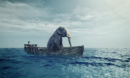 海でボートに座っている象。これは 3 d レンダリング図です。