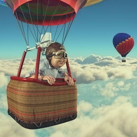 남자는 뜨거운 공기 풍선으로 overclouds를 날아간다. 이것은 3d 렌더링 그림
