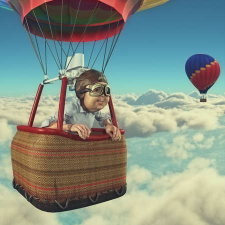 Man flies overclouds with hot air balloon.  This is a 3d render illustration