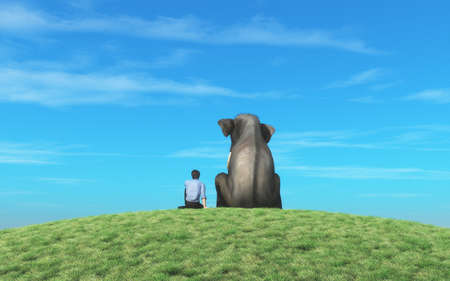 Man and an elephant sits on top of  a hill and look to the horizon together. This is a 3d render illustration Imagens