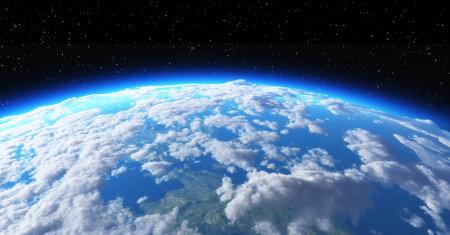 La tierra del planeta en el espacio sobre fondo negro . esta es una ilustración 3d Foto de archivo - 66133340