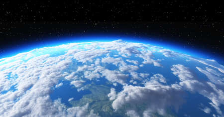 The planet earth in space on black background. This is a 3d render illustration