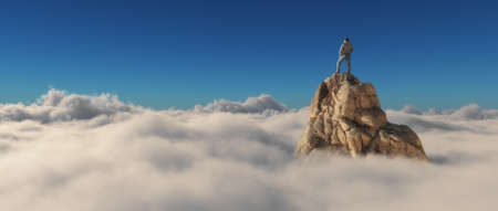 A man standing on a stone cliff over the clouds .Success concept. This is a 3d render illustration Stock Illustration - 65937187