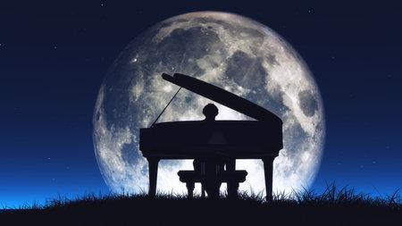 Silhouet van een man die in het midden van de nacht piano speelt met de enorme maan op de achtergrond. Dit is een 3d render illustratie Stockfoto
