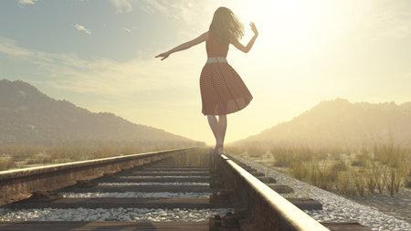 푸른 하늘 아래 철도에 걷는 소녀 - 이것은 3 차원 렌더링 그림입니다 스톡 콘텐츠