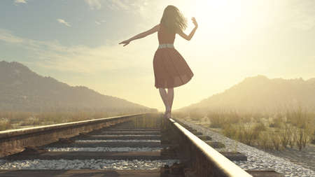 A walking girl on the railway under the blue sky - this is a 3d render illustration Stock fotó