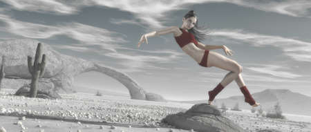 Young girl dancing in a wilderness desert landscape. This is a 3d render illustration Stock fotó