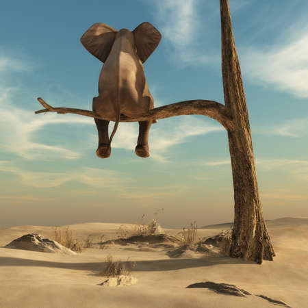 Elephant stands on thin branch of withered tree in surreal landscape. This is a 3d render illustration Stock Illustration - 66219206