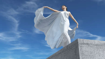 Elegant young woman wearing a white dress up on a stone wall. This is a 3d render illustration Foto de archivo