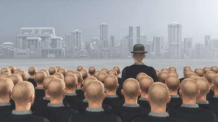 Foule de gens qui cherchent à une ville et l'un d'eux se distingue avec un chapeau. Sur le concept de la boîte. Ceci est une illustration 3d render