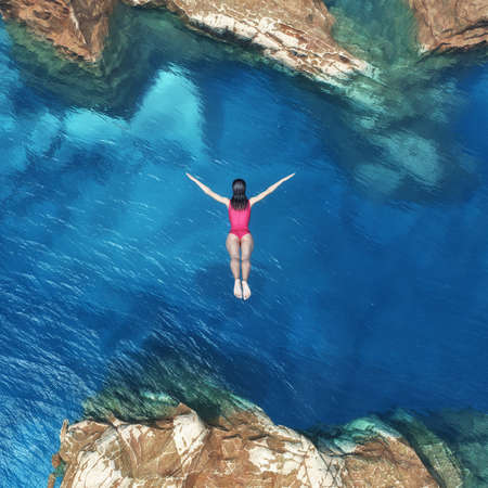Young women jumping off cliff into the ocean. Summer fun lifestyle.. This is a 3d render illustration