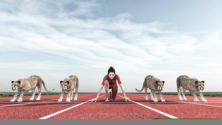 Atletische vrouw concurreert met cheeta's op de rails begint te lopen. Dit is een 3d render illustratie