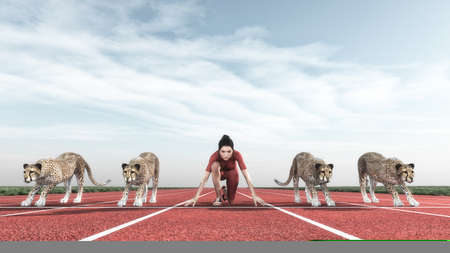 Athletic woman competes with cheetahs on track starting to run.  This is a 3d render illustration Foto de archivo
