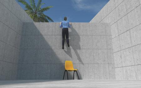 Junger Mann stieg eine Betonwand, mit Blick auf die Wand. Dies ist ein 3d render Standard-Bild