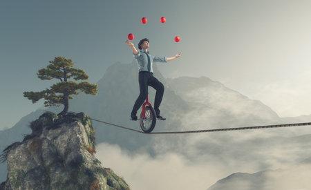O malabarista está equilibrando na corda com uma bicicleta entre duas montanhas. Esta é uma ilustração 3d render