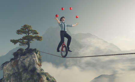 Juggler is balancing on rope with a bike between two mountains. This is a 3d render illustration Foto de archivo