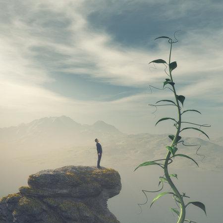 Homme debout au bord d'une falaise en admirant un grand haricot magique. Ceci est une illustration de rendu 3d