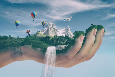 Conceptual image of a mountain landscape held by a hand, flowing water cascading and tourist hiking . Ecology concept. This is a 3d render illustration