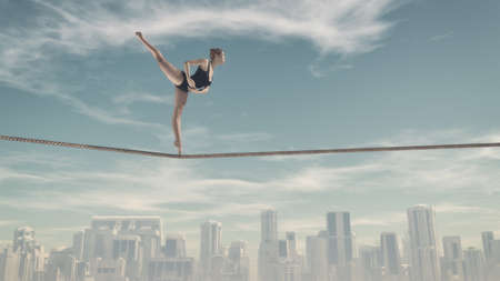 Athletic woman training on a rope over the town. This is a 3d render illustration Banco de Imagens - 66313000