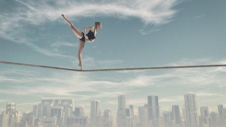 Entrenamiento de la mujer atlética en una cuerda sobre la ciudad. Esta es una ilustración 3d