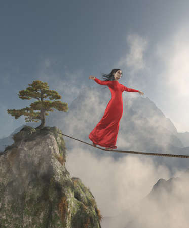Elegant womanl walking in balance on the rope over the mountains. This is a 3d render illustration. Stock Photo