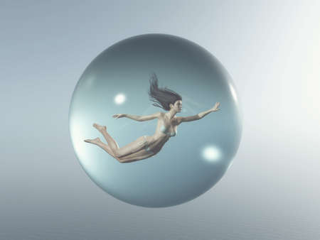 Woman floats in a bubble. This is a 3d render illustration Stock Photo