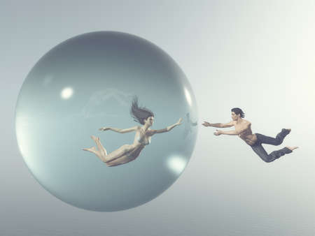 Woman floats in a bubble while a man levitating arround the bubble for her . This is a 3d render illustration