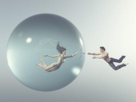 Vrouw drijft in een bubbel terwijl een man voor haar rond de bubbel slaat. Dit is een 3d render illustratie
