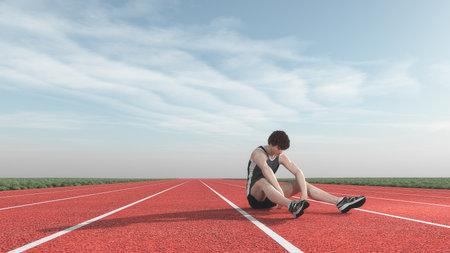 Atleet versloeg in de concurrentie. Dit is een 3d render illustratie