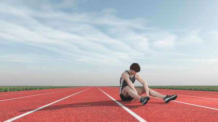 Athlete defeated in competition. This is a 3d render illustration Stock Photo