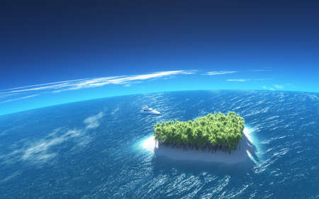 Heart-shaped tropical island in mid-ocean and a boat anchors by. This is a 3d render illustration