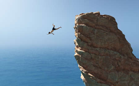 Man jumps into the ocean from a cliff. This is a 3d render illustration