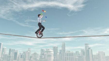 Extreme zakenman die unicycle op een touw rijdt en jongleren met een aantal ballen in dezelfde tijd over de stad. Dit is een 3d render illustratie