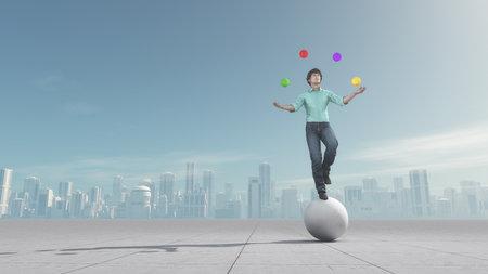 L'homme jongle les balles alors qu'il est balacing sur une grosse boule sur la ville. Ceci est une illustration 3d render Banque d'images - 66659928