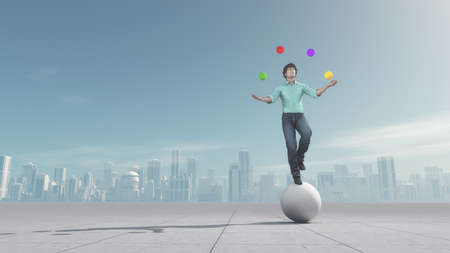 Man juggles the balls while he is balacing on a big ball over the city. This is a 3d render illustration