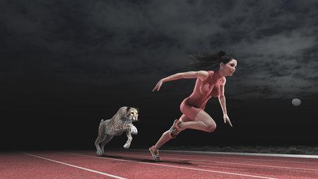 Atleet vrouw concurreert met een cheetah op de atletiekbaan in de nacht. Race tussen een vrouw en een cheetah. Dit is een 3d render illustratie