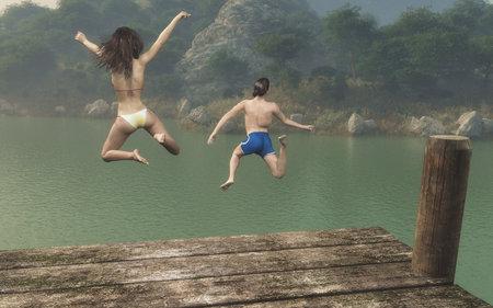 Adolescenti, salto, diga, lago, lago Questo è un 3d rendering illustrazione.