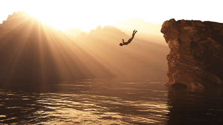 Man jumping from a hill into a lake at sunset surrounded by mountains. This is a 3d render illustration