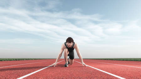 Young man kneeling on the starting grid of a running track. This is a 3d render illustration