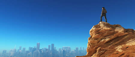 Young man at the top of the stone looking to a city.  This is a 3d render illustration