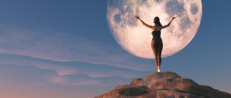 Femme aux bras en l'air, debout au sommet d'un rocher, regardant l'énorme lune. Ceci est une illustration de rendu 3d